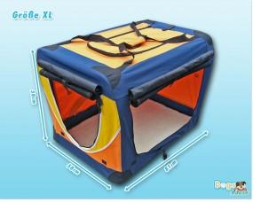 Faltbare Hunde-Transportbox 4-farbig Orange Gelb Blau Weiss